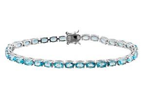 Blue Cambodian Zircon Sterling Silver Tennis Bracelet 20.97ctw.