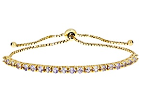 Blue tanzanite 18k gold over silver bolo bracelet 1.80ctw