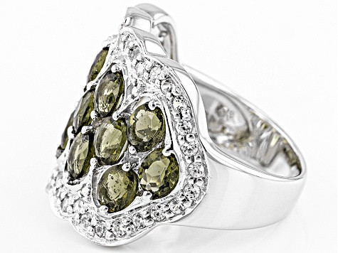 Green Moldavite Sterling Silver Ring 1.89ctw