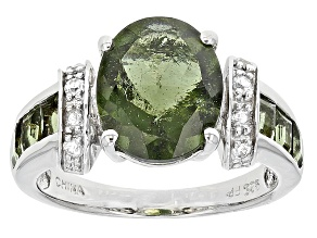 Green Moldavite Sterling Silver Ring 2.93ctw