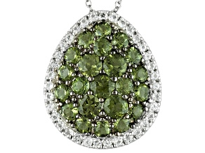 Green Moldavite Sterling Silver Pendant With Chain 2.82ctw