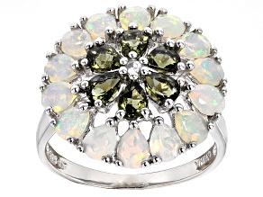 Green Moldavite Sterling Silver Ring 1.79ctw