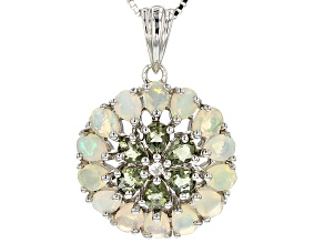 Green Moldavite Sterling Silver Pendant With Chain 1.79ctw