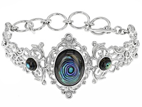Multicolor Abalone Shell Sterling Silver Bracelet .48ctw
