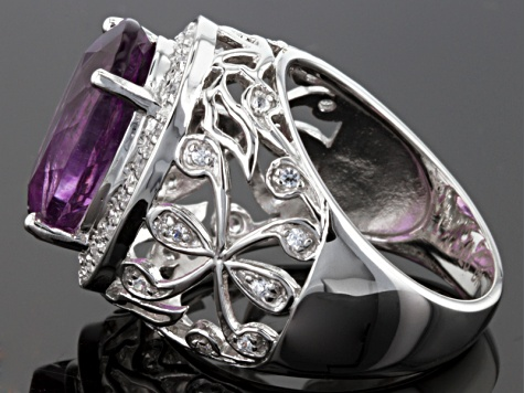 Purple Fluorite And White Zircon Sterling Silver Ring 6.23ctw