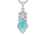 Blue Larimar Sterling Silver Pendant With Chain .85ctw
