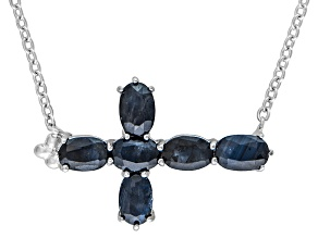 Blue Sapphire Sterling Silver Cross Necklace 3.60ctw