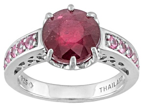 Mahaleo Ruby Sterling Silver Ring 4.27ctw