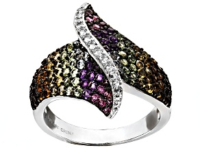 Multi Color Gemstone Sterling Silver Ring 1.66ctw