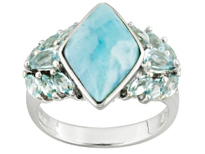 Blue Larimar Sterling Silver Ring 1.30ctw