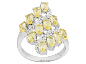 Yellow Beryl Sterling Silver Ring 2.43ctw