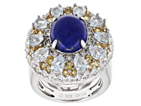 Blue Lapis Lazuli, Topaz, Citrine And White Topaz Sterling Silver Ring 3.26ctw