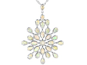 Multi Color Ethiopian Opal Rhodium Over Sterling Silver Pendant With Chain 3.66ctw