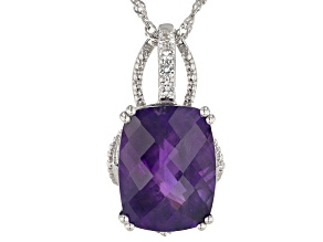 Purple African Amethyst Rhodium Over Sterling Silver Pendant With Chain 9.78ctw