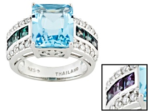 Blue Topaz, Lab Created Alexandrite And White Zircon Sterling Silver Ring 8.08ctw