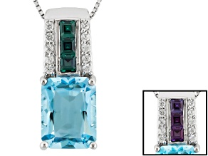 Sky Blue Topaz Sterling Silver Pendant With Chain 7.99ctw