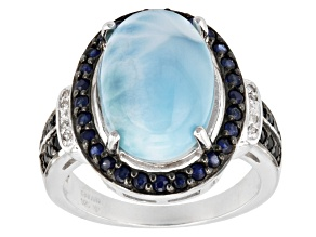 Blue Larimar Sterling Silver Ring .52ctw
