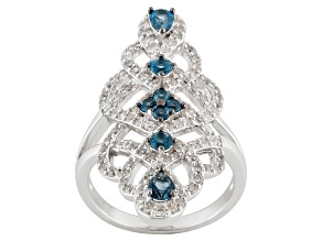 London Blue Topaz And White Zircon Sterling Silver Ring 1.71ctw