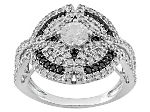 White Zircon And Black Spinel Sterling Silver Ring 1.56ctw