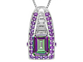 Mystic® Green Topaz Sterling Silver Pendant With Chain 3.39ctw