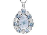 Blue Larimar Sterling Silver Pendant With Chain 2.20ctw