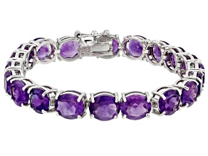 Purple Amethyst Rhodium Over Sterling Silver Bracelet 29.00ctw