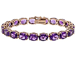Purple amethyst 18k rose gold over silver bracelet 29.00ctw