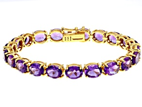 Purple amethyst 18k gold over silver bracelet 29.00ctw