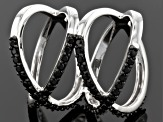 Black Spinel Sterling Silver Ring 1.12ctw