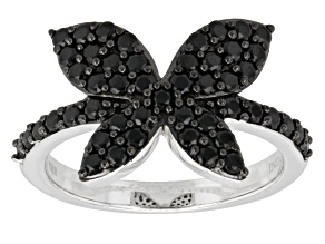Black Spinel Sterling Silver Ring .83ctw