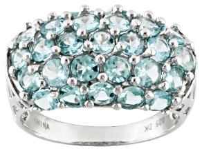 Blue Apatite Sterling Silver Ring 3.23ctw