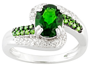 Green Chrome Diopside And White Zircon Sterling Silver Ring 2.20ctw