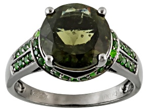 Green Moldavite Sterling Silver Ring 2.69ctw