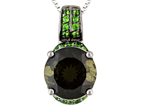 Green Moldavite Sterling Silver Pendant With Chain 2.61ctw