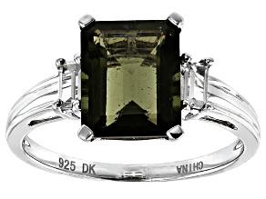 Green Moldavite Sterling Silver Ring 2.52ctw