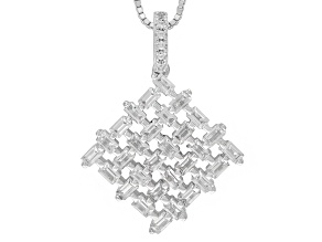 White Zircon Sterling Silver Pendant With Chian 2.23ctw