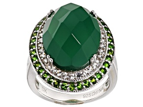 Green Onyx Sterling Silver Ring 1.06ctw