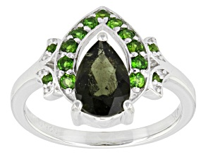Green Moldavite And Chrome Diopside Sterling Silver Ring 1.50ctw