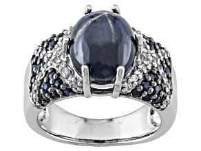 Blue Star Sapphire Sterling Silver Ring. 5.00ctw