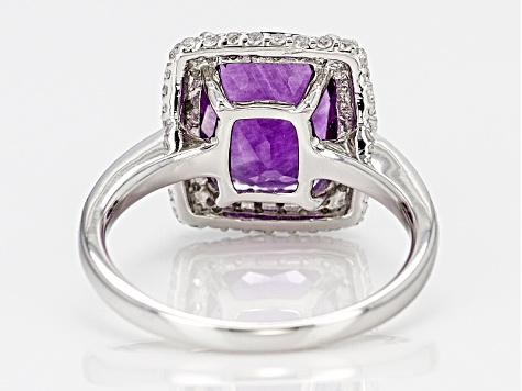 Purple Fluorite Sterling Silver Ring 4.46ctw