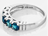 London Blue Topaz Rhodium Over Sterling Silver 5-Stone Ring 1.50ctw