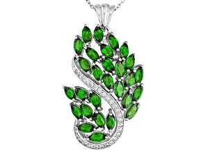 Green Chrome Diopside Sterling Silver Pendant With Chain 8.95ctw