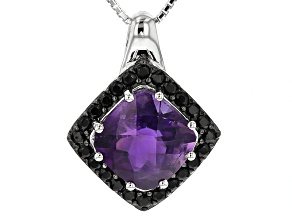 Purple Amethyst Sterling Silver Pendant With Chain 2.96ctw