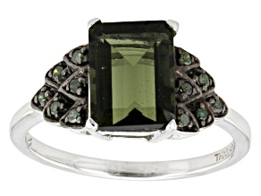 Green Moldavite And Green Diamond Sterling Silver Ring. 1.80ctw