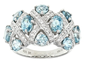 Blue Cambodian Zircon Sterling Silver Ring 4.96ctw