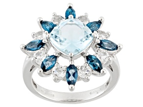 Sky Blue Topaz Sterling Silver Ring 5.34ctw