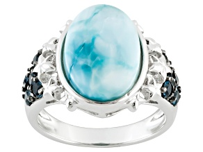 Blue Larimar Sterling Silver Ring .07ctw
