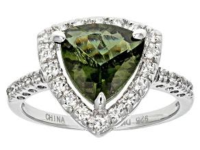 Green Moldavite Sterling Silver Ring 1.89ctw