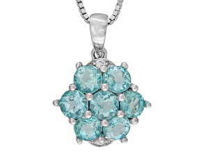 Blue Apatite Sterling Silver Pendant With Chain 1.50ctw