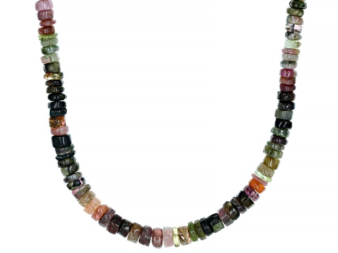 Mixed-color tourmaline silver necklace